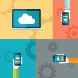 Cloud computing flat vector illustration with human hands holding smartphones. Cloud computing flat design vector illustration with human hands holding Royalty Free Stock Image