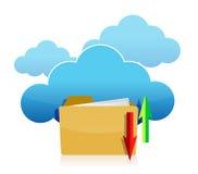 Cloud computing and folder upload illustration Royalty Free Stock Photos