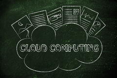 Cloud computing, funny documents on top of a cloud Stock Image