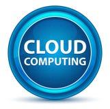 Cloud Computing gałki ocznej Round Błękitny guzik ilustracji