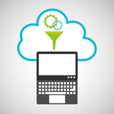 Cloud computing gear funnel Royalty Free Stock Image