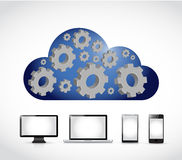 Cloud computing gear industrial diagram technology. Illustration design over a white background Royalty Free Stock Photography