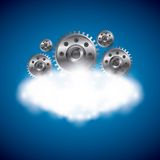 Cloud computing and gears  icon. Technology design. Vector graph Stock Photos