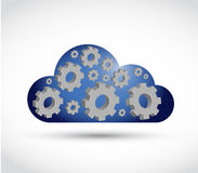Cloud computing gears illustration design. Over a white background Royalty Free Stock Photos