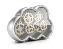 Cloud computing with gears vector illustration