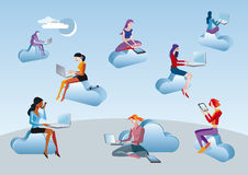 Cloud Computing Girls Sitting In Clouds. Eight girls and women access to Internet data in the cloud while they are sitting on blue clouds. Attitudes of Royalty Free Stock Images