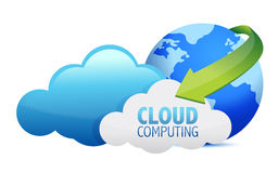 Cloud computing globe and arrows royalty free illustration