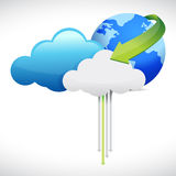 Cloud computing globe and arrows Stock Photos