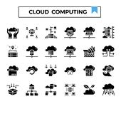 Cloud computing and connection glyph design icon set. Cloud computing glyph design icon set for presentation, internet connection, website,big data issue etc stock illustration