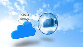 Cloud computing graphic against blue sky stock video