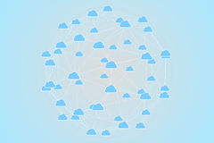 Cloud computing graphic with connecting lines Stock Photography