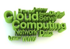 Cloud computing green letters Stock Photo
