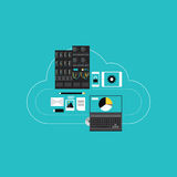 Cloud computing hosting for business development vector illustration