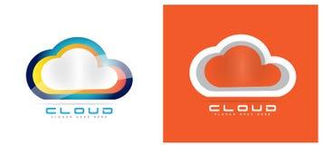 Cloud computing hosting logo. Cloud logo set with blue and orange color options 3d Stock Photo