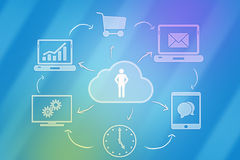 Cloud computing and human icon. Network icons with Royalty Free Stock Photography