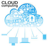 Cloud computing with icon in blue Royalty Free Stock Images