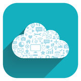 Cloud computing icon. Flat vector illustration. Stock Photos