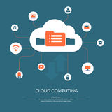 Cloud computing icon. Cloud computing infographics. Vector illustration of modern technologies. Vector icons and symbols. Cloud, music, video, computer Royalty Free Stock Photography