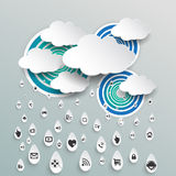 Cloud computing with icon in rain drops Stock Photos