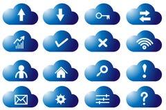 Cloud computing icon set, Blue cloud sign set. Blue icon cloud computing set Stock Photo