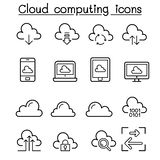 Cloud computing icon set in thin line style Royalty Free Stock Photos
