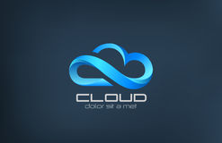Cloud computing icon vector logo design template. Creative business concept: processing in the clouds service. Technology idea Royalty Free Stock Photography
