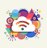 Cloud computing icon vibrant colors illustration. RSS feed cloud computing icon poster design with colorful vibrant geometry shapes background. Social media Royalty Free Stock Photos
