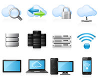 Cloud computing icons. Cloud computing and computer network icon set Stock Image