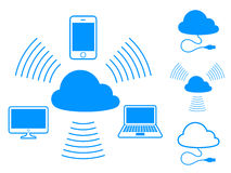 Cloud computing icons. Set of cloud computing icons showing connectivity between devices and storage in a centralised computing hub Stock Photography