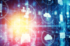 Cloud computing and icons 3d Royalty Free Stock Image