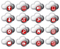 Cloud Computing icons - SET 1. Virtual cloud icons upload, download, folders, pictures, film, video, music, email, mobile phone connection, restore, backup and Royalty Free Stock Image
