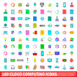 100 cloud computing icons set, cartoon style Stock Photos