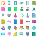 Cloud computing icons set, cartoon style Royalty Free Stock Images