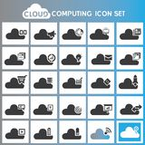 Cloud computing icons. Set of 20 cloud computing icons, network buttons set vector illustration