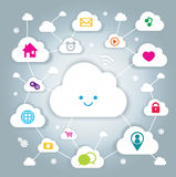 Cloud computing. Illustration of Cute cloud computing royalty free illustration