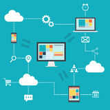 Cloud Computing  illustration. Exchange of information Stock Photography
