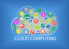 Cloud computing illustration including the connectivity of different devices. Like tablets, smart phones, smart watches, sensors, smart thermostats, appliances stock illustration