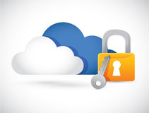 Cloud computing illustration lock illustration Royalty Free Stock Photos