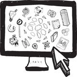 Cloud computing illustrations on computer screen Royalty Free Stock Images
