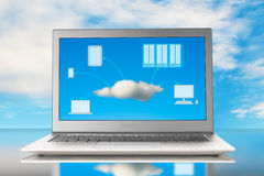 Cloud computing image on screen Royalty Free Stock Images