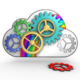 Cloud computing infrastructure. The infrastructure of the cloud is represented by gears Royalty Free Stock Image