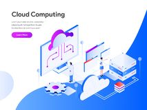 Cloud Computing Isometric Illustration Concept. Modern flat design concept of web page design for website and mobile website. vector illustration