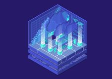 Cloud Computing isometrisk vektorillustration Abstrakt 3D som är infographic med mobila enheter royaltyfri illustrationer