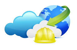 Cloud computing issues under construction sign Royalty Free Stock Photo