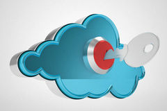 Cloud computing key. Security and safe. 3d high quality render Stock Photography