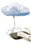 Cloud computing, a keyboard is attached to the cloud Royalty Free Stock Photo