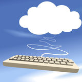 Cloud computing keyboard on blue sky background Royalty Free Stock Photos
