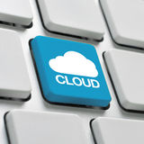 Cloud computing keyboard concept Royalty Free Stock Image