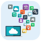Cloud computing. Laptop and apps icons. Stock Photos