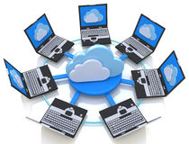 Cloud Computing and Laptop computers Stock Photography